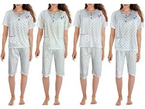 Women Pyjama Set Short Cotton Polka Dot Print Ladies Cropped Soft PJs Night Suit