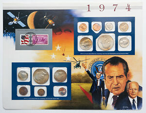 1974-P&D U.S MINT SET NIXON RESIGNS THE PRESIDENCY BEAUTIFUL COLOR TONED COINS