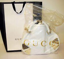 Autentico Gucci Borsa a mano in pelle bianca nappe in bambù