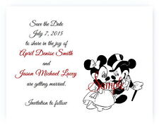 100 Personalized Custom Mickey and Minnie Disney Wedding Save The Date Cards +