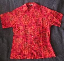 Vintage red island map print Hawaiian shirt