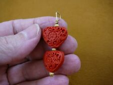 J12) RED HEART CINNABAR Pendant necklace carved wood lacquer bead loop jewelry