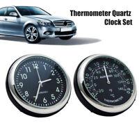 Pair Mini Luminous Car Quartz Clock Time Display Thermometer Auto Car Kit Decor