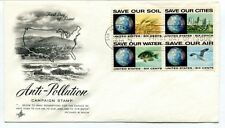 1970 Anti Pollution Campaign Stamp First Day Issue Save Our Soil Cities Water