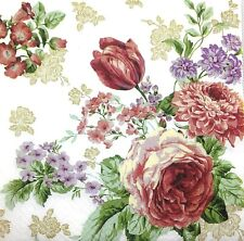 M117# 3 x Single Paper Napkins For Decoupage Craft Tissue Rose Tulips Flowers