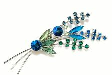 Austrian unsigned brooch green/blue crystals   DH