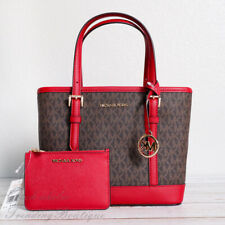 NWT Michael Kors Jet Set Travel Leather XS Tote Satchel & Coin Pouch in Scarlet