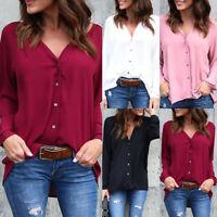 Women's Long Sleeve Loose V-neck Blouse Casual Shirt Summer Tops T-Shirt Hq