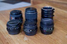 Pentax 50mm-A, 50mm-M, 135mm-M, 35-70mm-F, Takumar-A 28mm, Vivitar ex.tubes