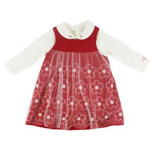 Emile Et Rose Girls Dress & Tights - Red/ Ivory (BNWT) ER8313-RE