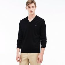 Lacoste Men's 100% Cotton Ribbed V-Neck Sweaters Color: Black 3XL (FR:8) NWT