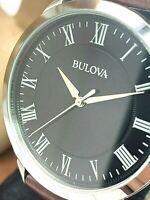 Bulova Men's Watch 96A184 Black Dial Roman Numerals Brown Leather Strap Quartz