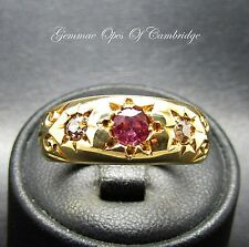 Antique Victorian 18ct Gold Diamond and Ruby Ring Size Q 7.4g