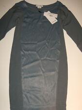 NWT Womens Lacoste Boatneck Mixed Media Shirt Dress Sz 0 32 NEW Dusk Blue NEW