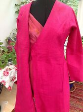 Indian silk dress coat wrapover ethnic jacket pink embellished quilted arty NWOT