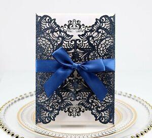 400pcs Wedding Invitation Cards Kit with Envelopes Ribbon Personalized Printing