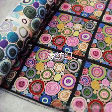 50x50cm Linen Jacquard Weave Fabric Pink Circle DIY Cushion Pillow Bag G01 B