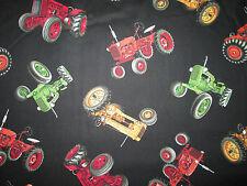 Tractors Farm Tractor Multi Colors Black Cotton Fabric BTHY