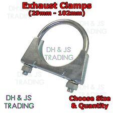 Universal U Bolt Exhaust Clamps - Heavy Duty Clamp & Nuts 29mm - 102mm All Sizes