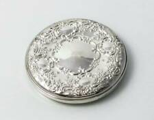 """TOWLE STERLING SILVER HAND HELD ROUND REPOUSSE POCKET COSMETIC MIRROR 3 1/4"""""""