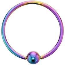 "Captive Lip Ear Eyebrow Ring Annealed 16 Gauge 5/16"" w/Fixed 3mm Ball Rainbow IP"