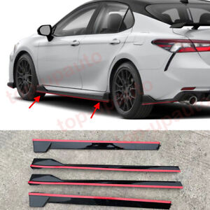 For Toyota Camry 2018-2021 TRD style ABS RED Side Body Skirts Extensions 4PCS