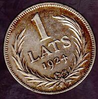 """1 Lats 1924 Lettland """"Wappen"""" in fast unzirkuliert"""