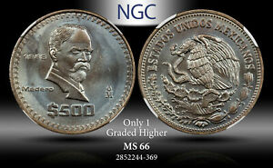 1988-MO MEXICO 500 PESOS NGC MS 66 ONLY 1 GRADED HIGHER !! TONED