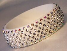 White Colored Summer Bangle Bracelet Wide Lucite with Clear Crystals