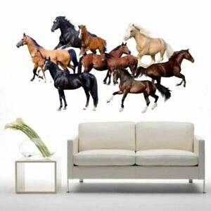 3D Cartoon Horses Wall Stickers for Decor Poster Paper Art Animals Bedroom