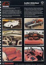 VW KÄFER GOLF CABRIO Cabriolet I 1 Leder Ausstattung Prospekt Sheet 1989 57