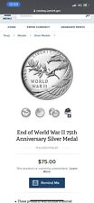 End Of World War II 75th Anniversary Silver Medal Order Confirmed