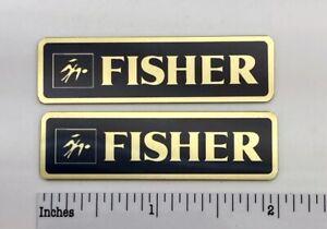 Fisher Speaker Badges Custom Made Aluminum Gold Pair