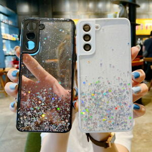 Shockproof Glitter Clear Hard Case Cover For Samsung S21 S20 FE Plus A32 A52 A72