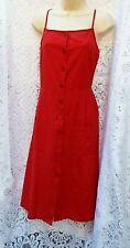 ASOS Cotton & Linen Blend~  Button Through Sun Dress Brick Red  Size 12