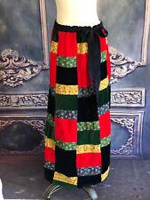VNTG 1970s Velvet Patchwork Maxi Skirt SM/Med/Lrg Hippy Grosgrain Ribbon J Estes