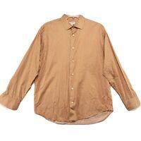 Banana Republic Orange Stripe Shirt Mens L Large Button Front Long Sleeve