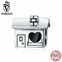VOROCO Vintage 925 Sterling Silver Small House Charm Beads Fit Brand Bracelet