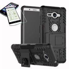 Hybrid Case 2 teilig Schwarz für Sony Xperia XZ2 Compact + 0,26 H9 Glas Tasche