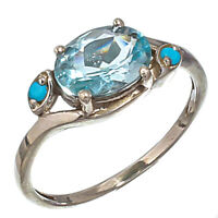 FACETED BLUE TOPAZ GEMSTONE 925 STERLING SILVER HANDMADE JEWELRY RING 8.25