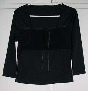 Vintage BLACK Stretch 3/4 sleeve BUSTIER style TOP sz S Goth Punk Gothic EMO