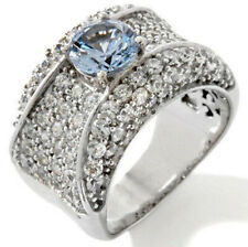 3.08ct Round Cut Aquamarine & Cubic Zirconia 14K White Gold Over Solitaire Ring