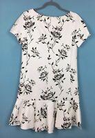 Zara Cream Floral Short Sleeve Frill Hem Shift Dress Size M - B41