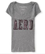 AEROPOSTALE Aero Womens Sequin Embellished Tee GREY Shirt XXLarge XXL $24.50