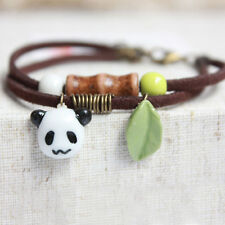 Handmade China Ceramic Panda Bamboo Pendant Rope Bracelet Jewelry Accessories
