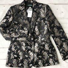 Ralph Lauren Womens Plus 16 Tuxedo Brocade Floral Jacket Blazer Black New $325