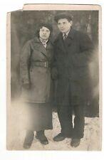 1930s Woman and man portrait  Russian soviet antique photo J