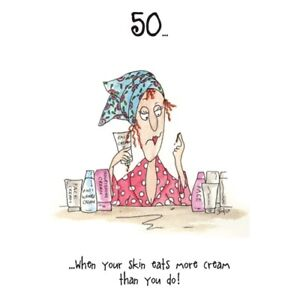 50 Skin Eats More Cream Camilla & Rose Birthday Card, funny, humorous, and, 50th