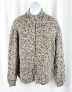 Neiman Marcus Men's Multi Brown Beige Knit Cashmere Full Zip Sweater Size M