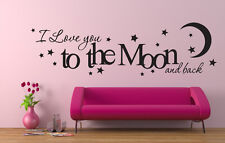 I LOVE YOU to the Moon E Indietro Wall Art in Vinile Decalcomania Sticker Decorazione Camera Da Letto